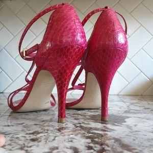 BCBGirl Snake Skin Leather Strappy Stiletto Heels